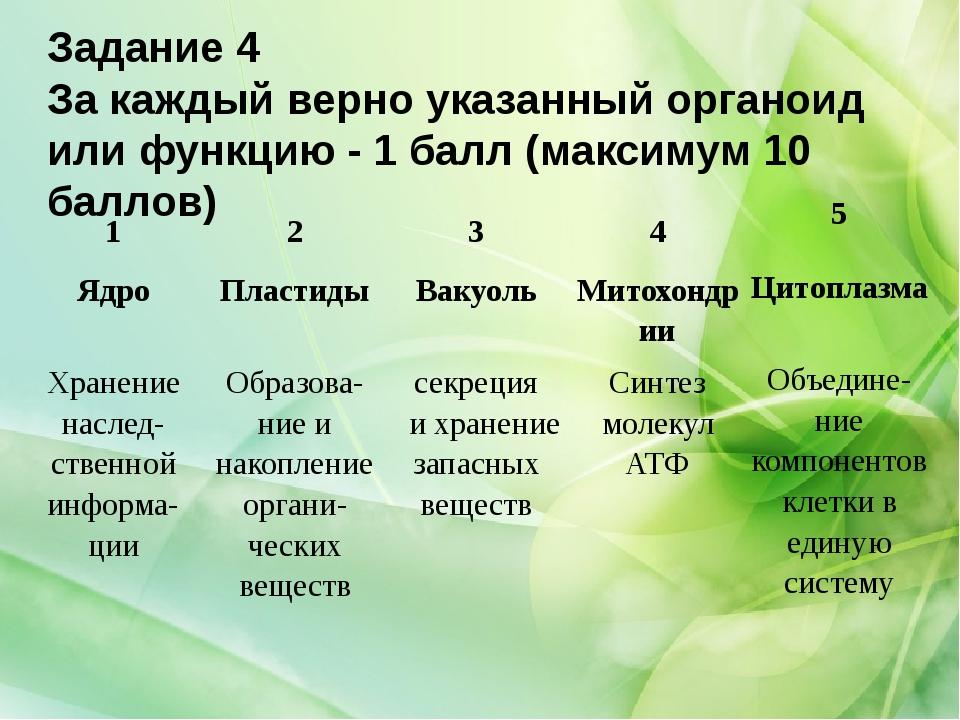 Задание 4 За каждый верно указанный органоид или функцию - 1 балл (максимум 1...