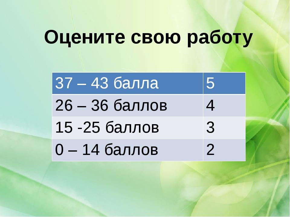Оцените свою работу 37 – 43 балла 5 26 – 36 баллов 4 15 -25 баллов 3 0 – 14 б...