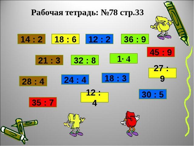 Рабочая тетрадь: №78 стр.33 . 14 : 2 18 : 6 12 : 2 36 : 9 45 : 9 18 : 3 1∙ 4...