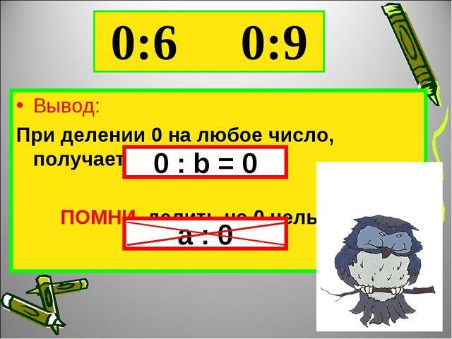 0:6 0:9 Вывод: При делении 0 на любое число, получается 0 ПОМНИ, делить на 0...