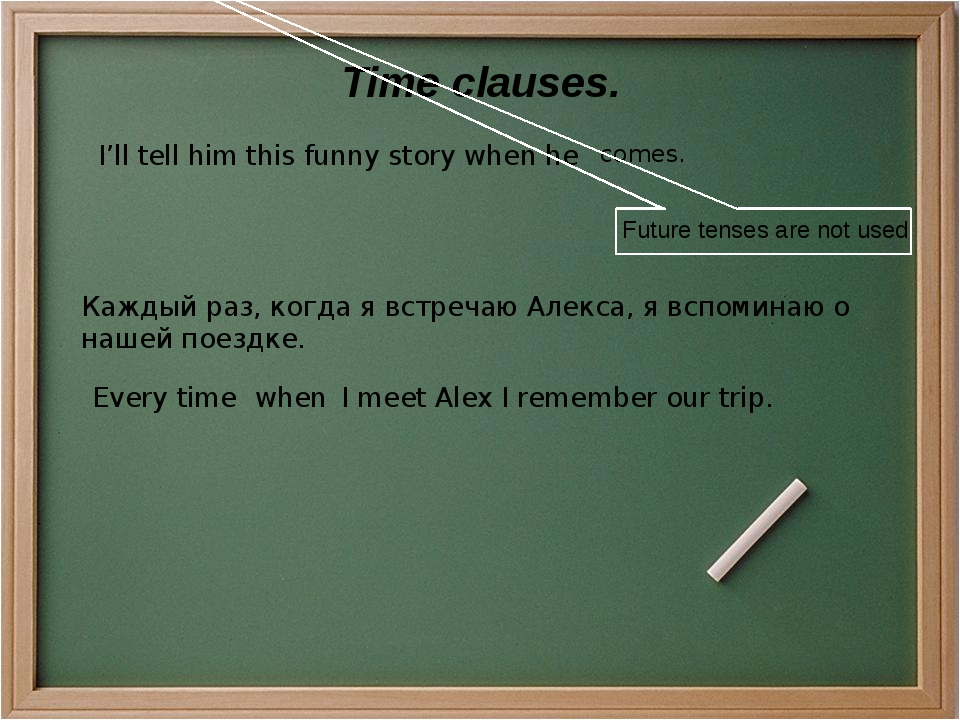 Time clauses. I'll tell him this funny story when he comes. Future tenses are...