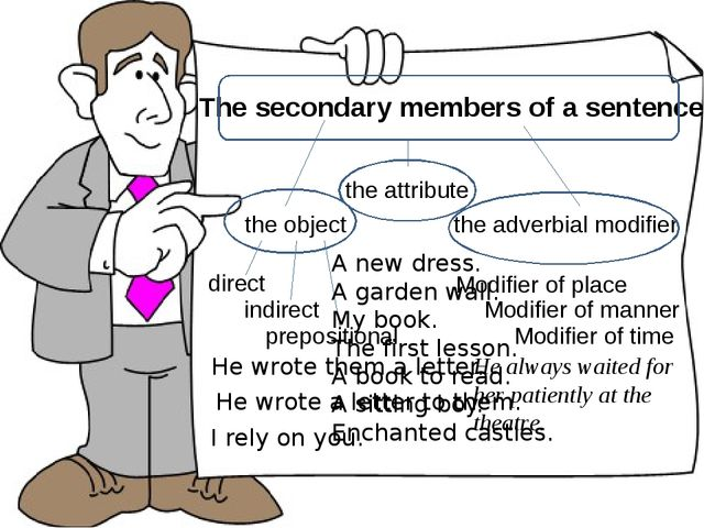 The secondary members of a sentence the object the attribute the adverbial mo...