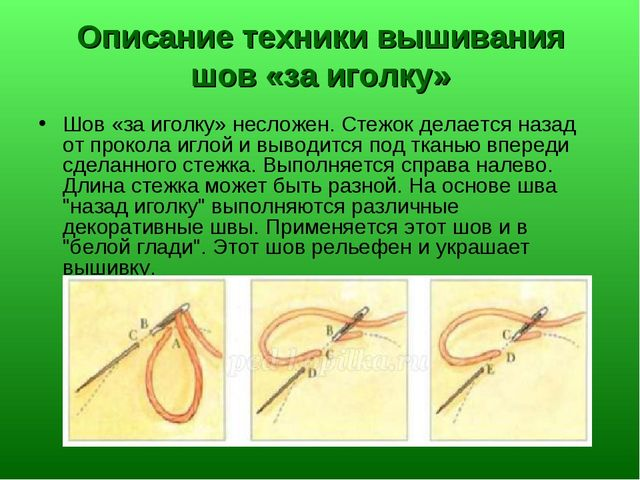 Описание техники вышивания шов «за иголку» Шов «за иголку» несложен. Стежок д...