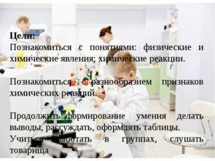 Цели: Познакомиться с понятиями: физические и химические явления; химические
