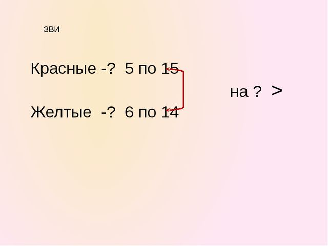 ЗВИ Красные -? 5 по 15 на ? > Желтые -? 6 по 14