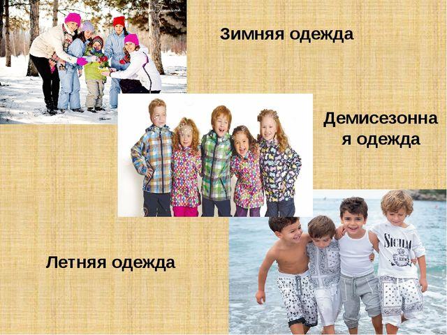 Зимняя одежда Летняя одежда Демисезонная одежда