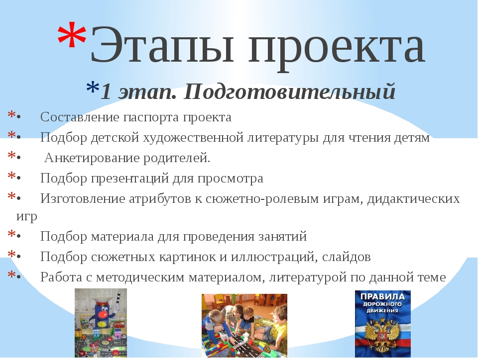 Этапы проекта 1 этап. Подготовительный •Составление паспорта проекта •Подбо...