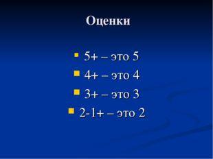 Оценки 5+ – это 5 4+ – это 4 3+ – это 3 2-1+ – это 2