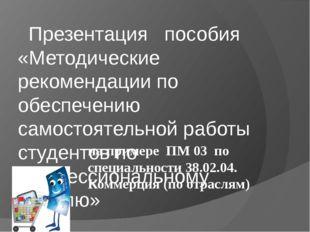 Презентация пособия «Методические рекомендации по обеспечению самостоятельно