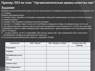 """Пример ЛПЗ по теме """"Органолептическая оценка качества чая"""" Задание Проведите"""