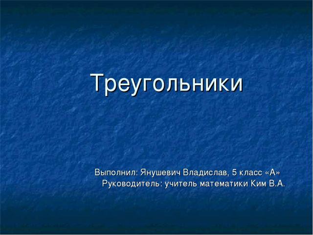 Треугольники Выполнил: Янушевич Владислав, 5 класс «А»  Руководитель: учите...