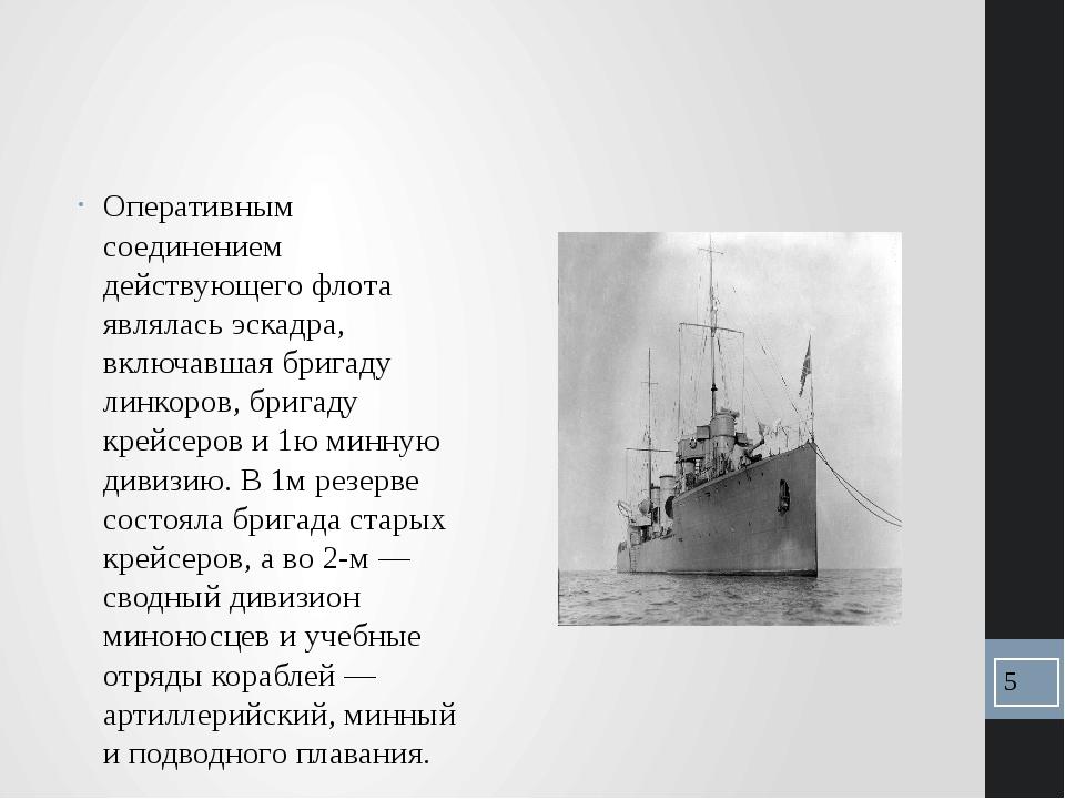 Оперативным соединением действующего флота являлась эскадра, включавшая бриг...