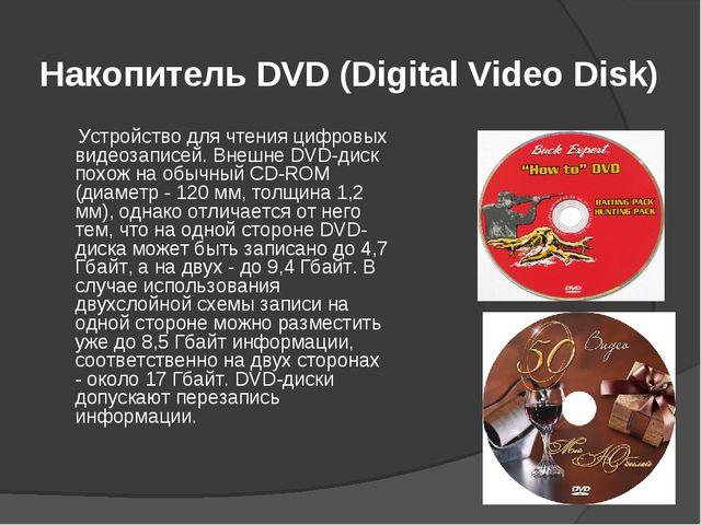 Накопитель DVD (Digital Video Disk) Устройство для чтения цифровых видеозапис...