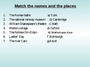 Match the names and the places The Roman baths a) York The national railway m