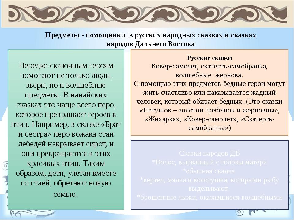 Предметы - помощники в русских народных сказках и сказках народов Дальнего Во...