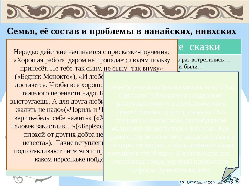 Семья, её состав и проблемы в нанайских, нивхских и русских народных сказках....