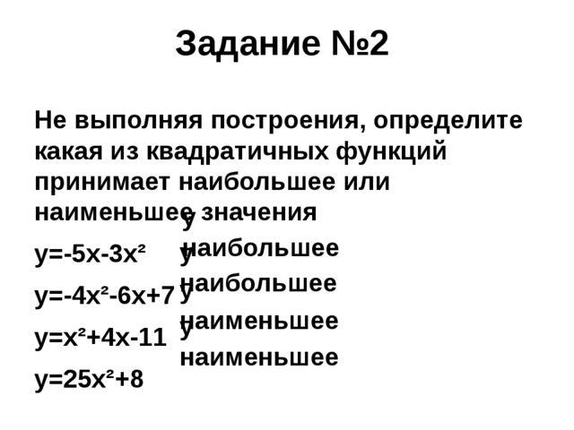 Задание №2 Не выполняя построения, определите какая из квадратичных функций п...