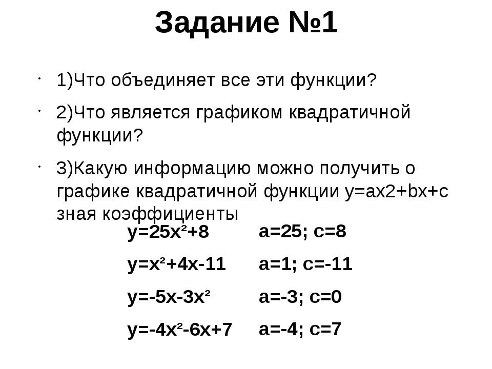 Задание №1 1)Что объединяет все эти функции? 2)Что является графиком квадрати...