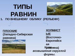 ТИПЫ РАВНИН 1. ПО ВНЕШНЕМУ ОБЛИКУ (РЕЛЬЕФУ) ПЛОСКИЕ (Западно-Сибирская равнин