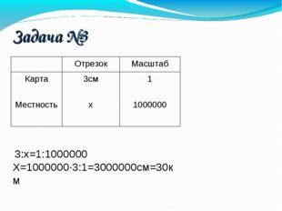 Задача №3 3:х=1:1000000 Х=1000000·3:1=3000000см=30км ОтрезокМасштаб Карта