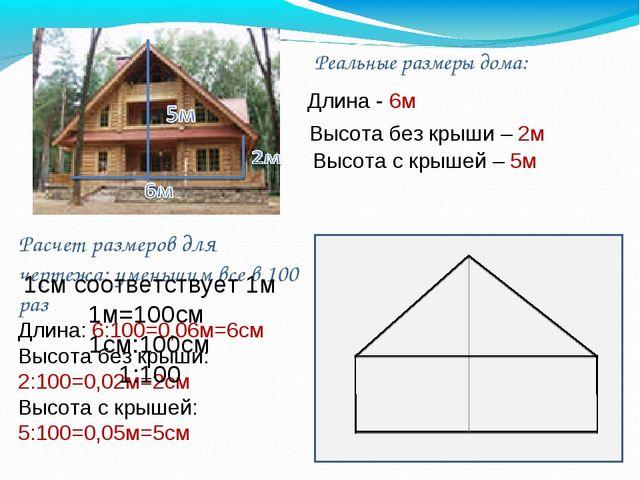 Реальные размеры дома: Расчет размеров для чертежа: уменьшим все в 100 раз Дл...