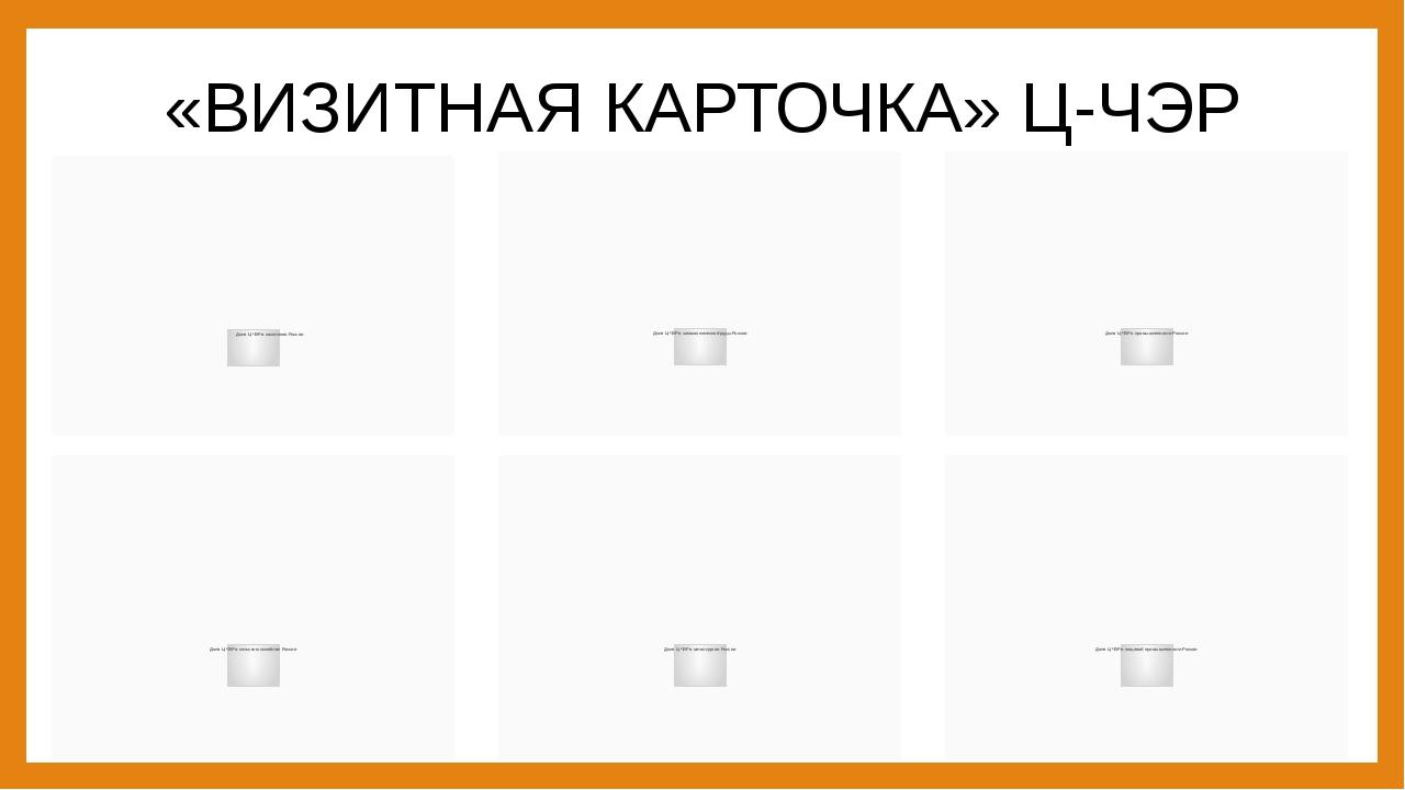 «ВИЗИТНАЯ КАРТОЧКА» Ц-ЧЭР