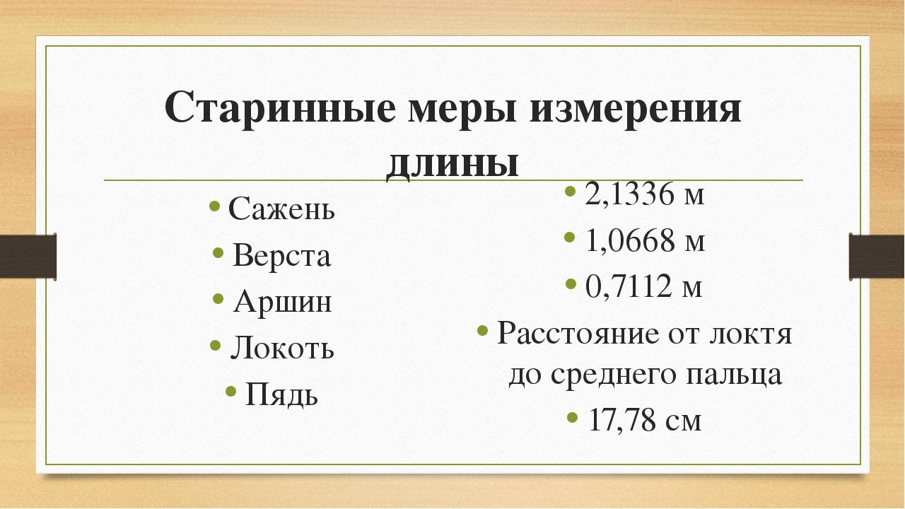 Старинные меры измерения длины Сажень Верста Аршин Локоть Пядь 2,1336 м 1,066...