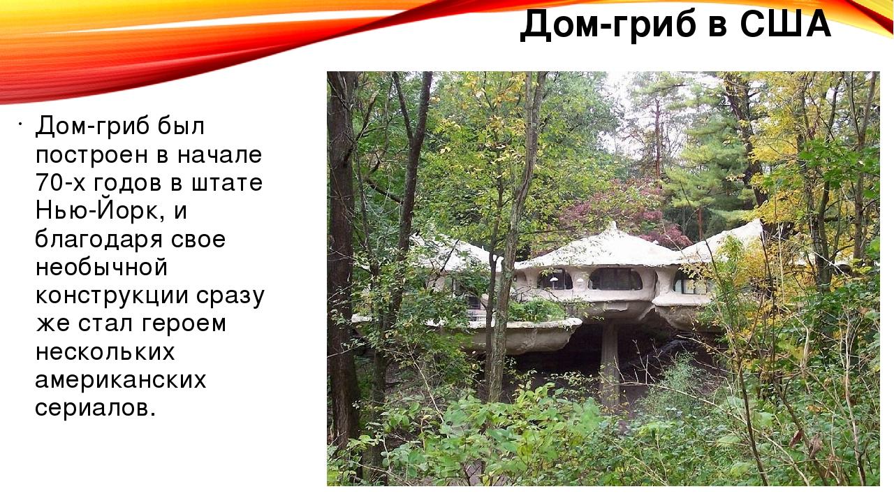 Дом-гриб в США Дом-гриб был построен в начале 70-х годов в штате Нью-Йорк, и...
