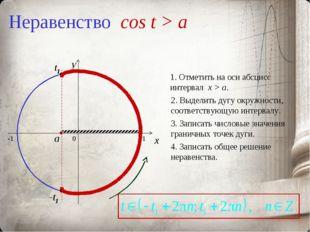 Неравенство cos t > a 0 x y 1. Отметить на оси абсцисс интервал x > a. 2. Выд