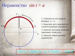 Неравенство sin t > a 0 x y 1. Отметить на оси ординат интервал y > a. 2. Выд