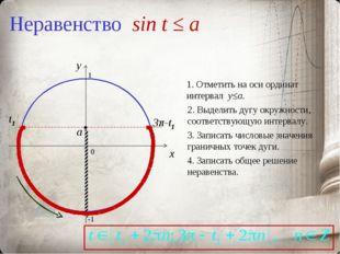 Неравенство sin t ≤ a 0 x y 1. Отметить на оси ординат интервал y≤a. 2. Выдел