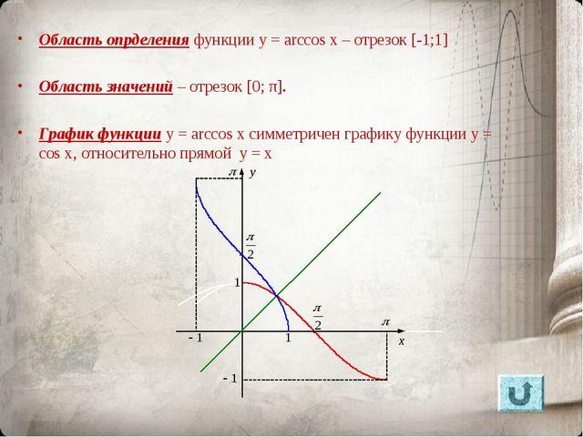 Область опрделения функции y = arccos x – отрезок [-1;1] Область значений – о...