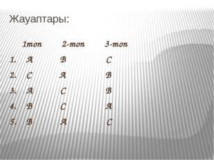 Жауаптары: 1топ 2-топ 3-топ 1. А В С 2. С А В 3. А С В 4. В С А 5. В А С