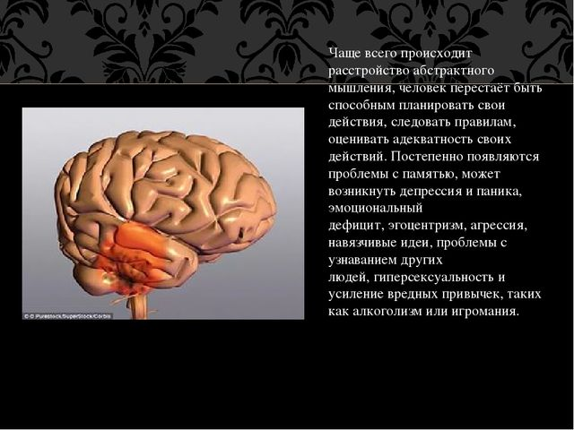 Чаще всего происходит расстройство абстрактного мышления, человек перестаёт б...