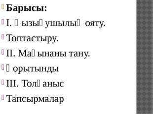 Барысы: І. Қызығушылық ояту. Топтастыру. ІІ. Мағынаны тану. Қорытынды ІІІ. То