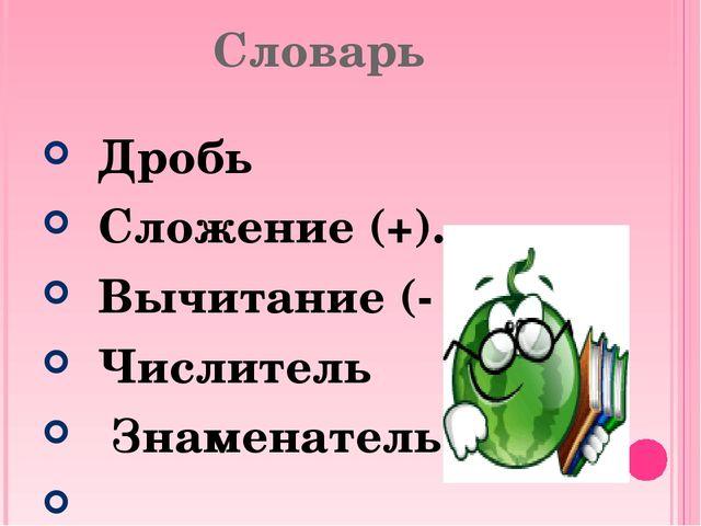 Словарь Дробь Сложение (+). Вычитание (- ). Числитель Знаменатель