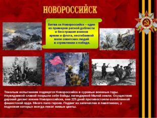 Тяжелым испытанием подвергся Новороссийск в суровые военные годы. Неувядаемой