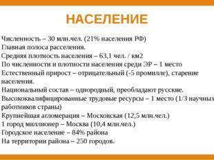 НАСЕЛЕНИЕ Численность – 30 млн.чел. (21% населения РФ) Главная полоса расселе
