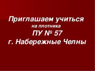 Приглашаем учиться на плотника ПУ № 57 г. Набережные Челны