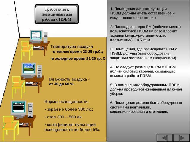 Требования к помещениям для работы с ПЭВМ 1. Помещения для эксплуатации ПЭВМ...
