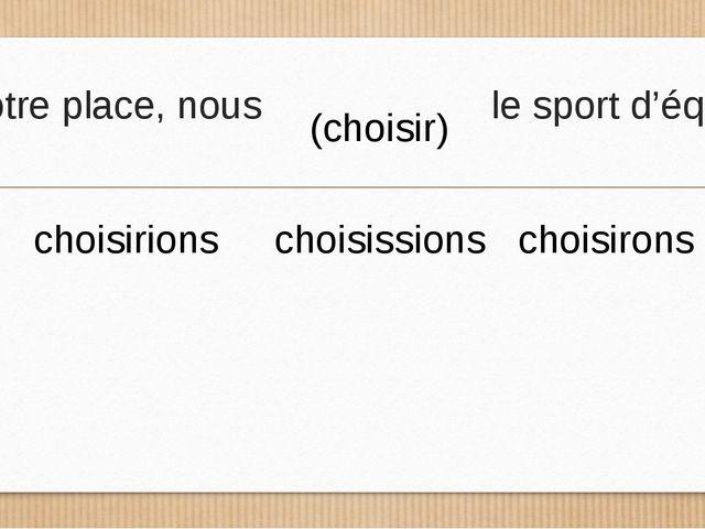 A votre place, nous le sport d'équipe. (choisir) choisirions choisissions cho...
