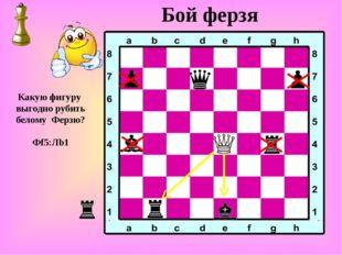 Бой ферзя Какую фигуру выгодно рубить белому Ферзю? Фf5:Лb1