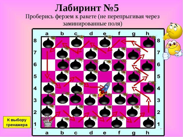 Лабиринт №5 Проберись ферзем к ракете (не перепрыгивая через заминированные п...