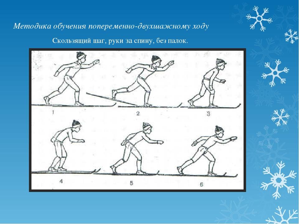Методика обучения попеременно-двухшажному ходу Скользящий шаг, руки за спину,...