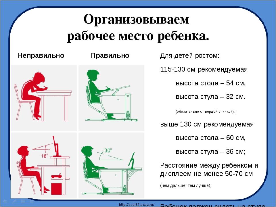 Организовываем рабочее место ребенка. Для детей ростом: 115-130 см рекомендуе...