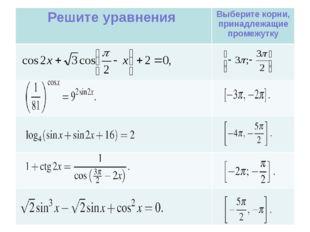 Решите уравнения Выберите корни, принадлежащие промежутку