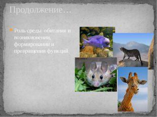 Продолжение… Роль среды обитания и возникновении, формировании и превращении