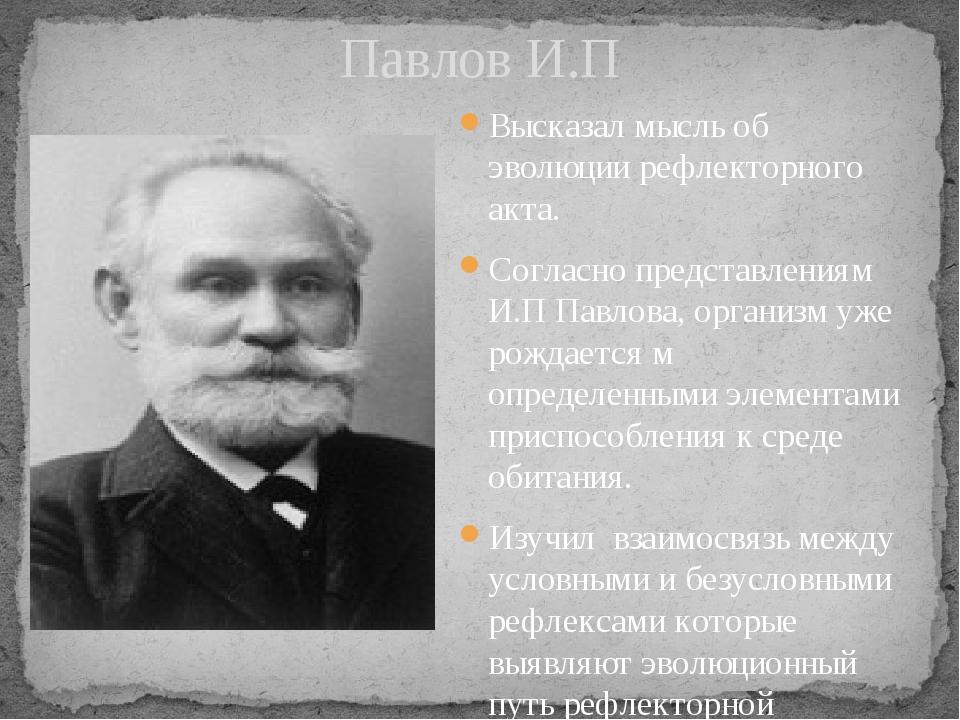 Павлов И.П Высказал мысль об эволюции рефлекторного акта. Согласно представле...