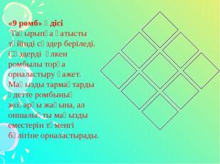 «9 ромб» әдісі Тақырыпқа қатысты түйінді сөздер беріледі. Сөздерді үлкен ромб