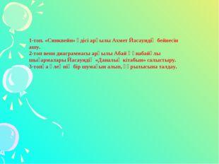 1-топ. «Синквейн» әдісі арқылы Ахмет Йасауидің бейнесін ашу. 2-топ венн диагр